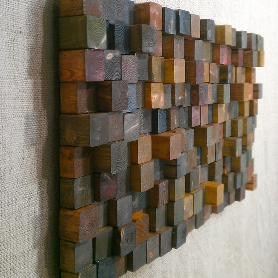 Wall Sculpture  Rusty Scavenger Wood Cubes by Orangutate on Etsy, $120.00