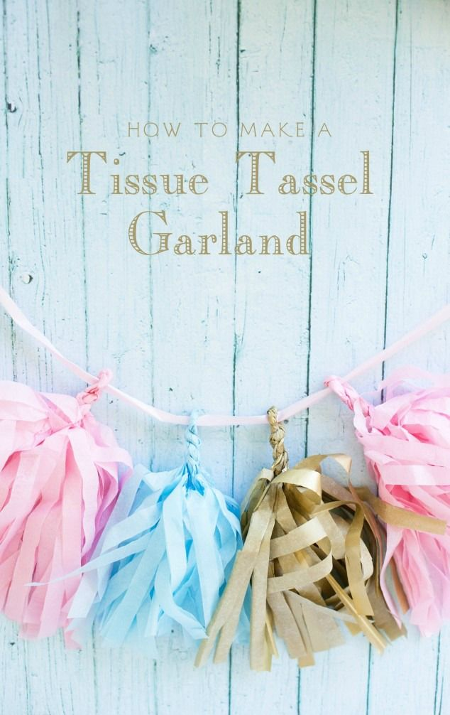 Hosting a baby shower for your best friend or sister? Learn how to create this festive DIY tissue tassel garland as beautiful party décor. This is a great way to tie in baby boy, baby girl, or gender neutral colors, and it can be used again to decorate the nursery!
