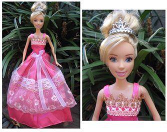 Handmade Barbie Gown in Cerise