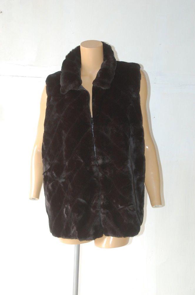 Plus Size Faux Fur Vest Stretch Black 2X Women's Jacket Winter Bohemian Zip Up  #MercerStudio #Sleeveless #Winter