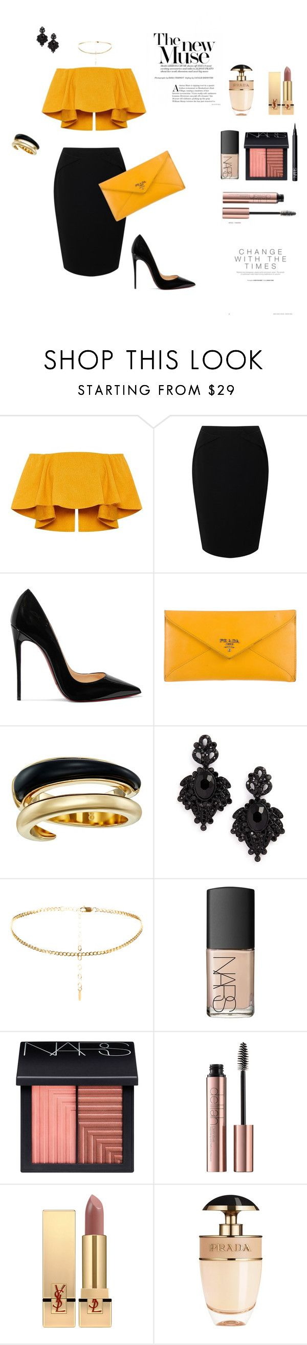"""Classy"" by roxx1993 on Polyvore featuring Jacques Vert, Christian Louboutin, Prada, Michael Kors, Tasha, NARS Cosmetics and Yves Saint Laurent"