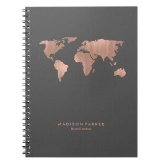 Faux Rose Gold World Map on Smoky Gray Spiral Note Books