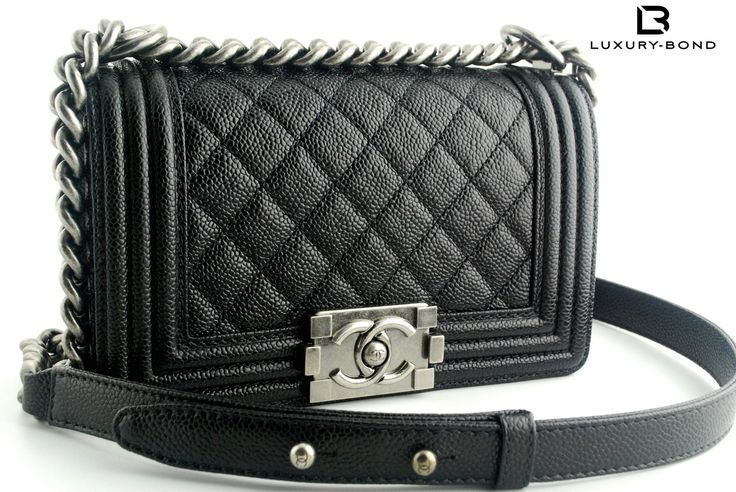 Chanel Le Boy CAVIAR Leather Small Size Black Color Flap Bag 2014 Fall (14B) Collection