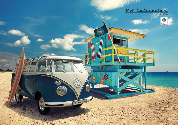 vw t1 bus poster a2 portrait format beach pla beach 2016. Black Bedroom Furniture Sets. Home Design Ideas
