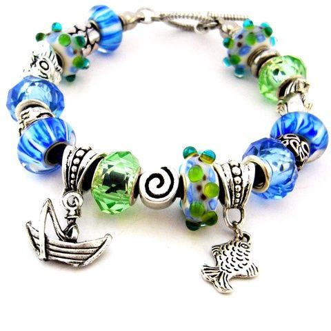 EEEEKKORA halat fogtam! - fehér, zöld és kék horgász karkötő pandora stílusban csónakkal és halakkal (ButterflyJew) - Meska.hu