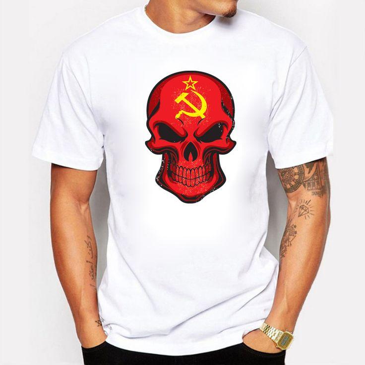 BLWHSA Top Sale Soviet Union Flag Skull Printed Men's T Shirt Hip Hop Streetwear Cotton Casual Short T-shirt Clothes for Men #Affiliate