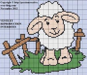 Bonjour, Je ne suis pas très sérieuse en ce moment car hier j'ai oublié de revenir pour offrir une grille. Voici le mouton qui devait venir vous faire un p'tit coucou hier.... Je vous souhaite une excellente journée
