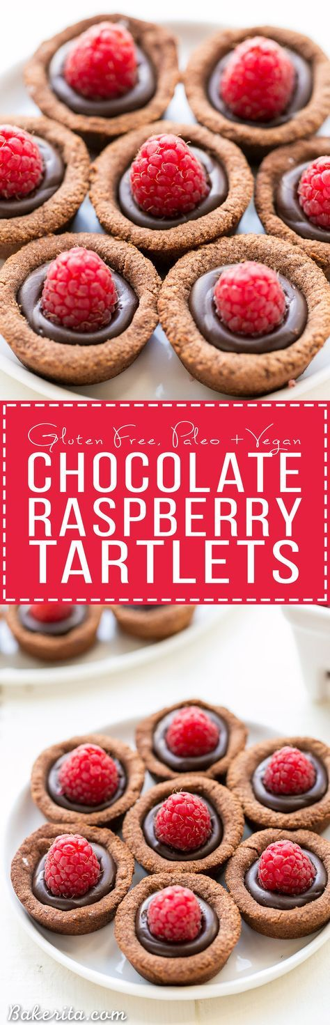 These Chocolate Raspberry Tartlets are super chocolatey bites - they have a chocolate shortbread crust filled with chocolate ganache and topped with a fresh raspberry. Satisfy your chocolate craving with one of these gluten-free, Paleo + vegan tartlets.