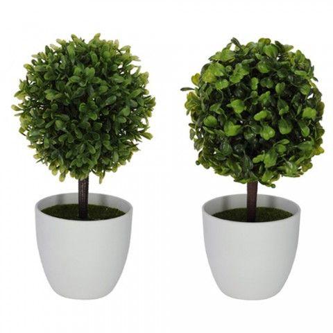 kit arranjo folhagem artificial buxus verde c/ 2 unidades 25cm