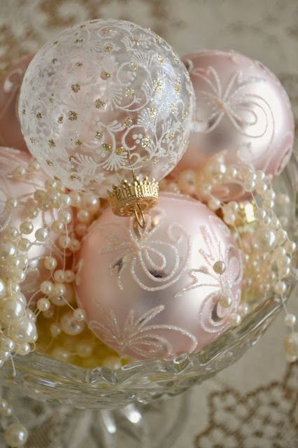 """Gorgeous array of Christmas ornaments and pearls """"served"""" in a compote ... #shabby chic #Christmas"""