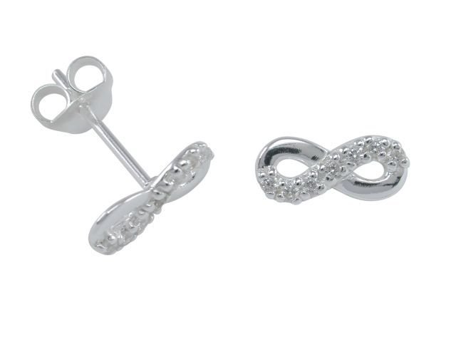 Sterling Silver 10x4mm White Cubic Zirconia Infinity Stud Earrings