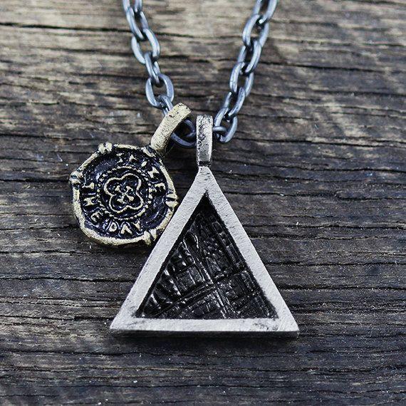 Silver Triangle Pendant Mens Necklace Chain Geometric Oxidized