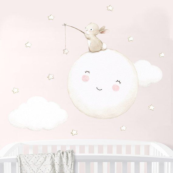 Repositionable Fabric Wall Decal, FULL MOON, Nursery wall decal, Watercolor decal, Bunny wall decal, nursery sticker, Moon decal Aida Zamora