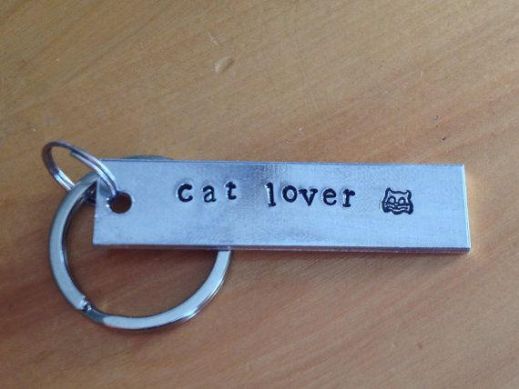 Cat Lover  Hand Stamped Aluminium, Keychain