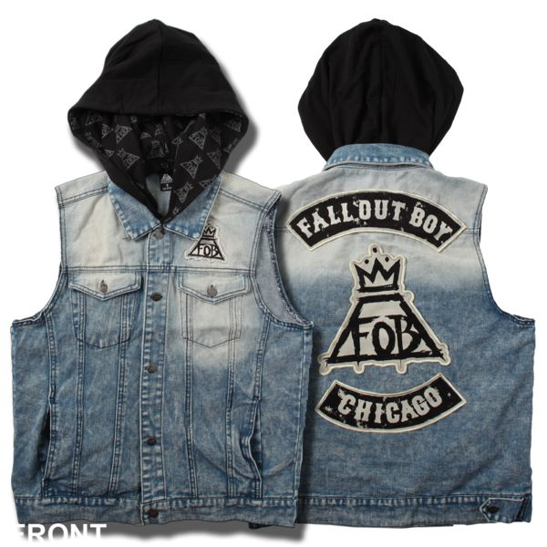 Fall Out Boy hooded jean vest with four front pockets, custom buttons, inner hood print, and three back patches.  M, $50