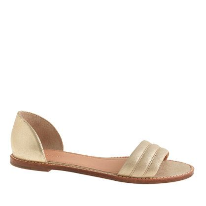"These sleek sandals are minimal, easy and seriously chic, with a single strap across the toe. Go ahead, put ""pedicure"" back at the top of your to-do list. <ul><li>3/8"" heel.</li><li>Suede upper.</li><li>Import.</li></ul>"