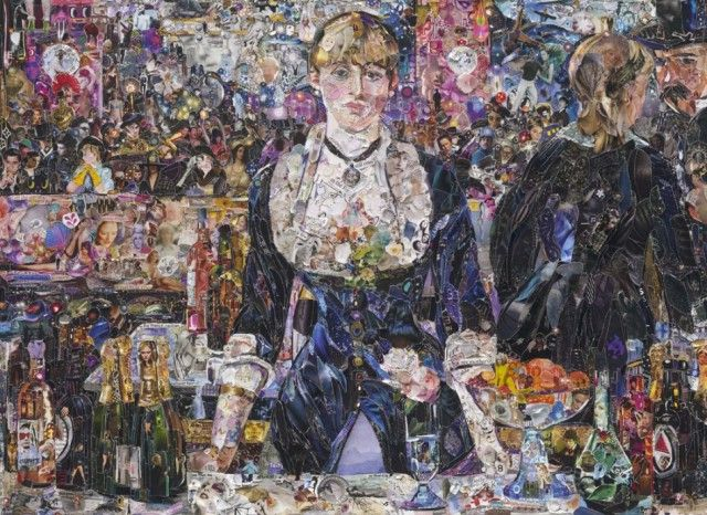 A Bar at Folies bergères, after Edouard Manet (Pictures of Magazine 2 series 2012)  by Vik Muniz ( Famous Paintings Recreated Using Thousands of Torn Magazine Scraps ): Vik Muniz, Vikmuniz, Vans Gogh, Famous Artworks, Collage, Edouard Manet, Torn Magazines, Art History, Famous Paintings