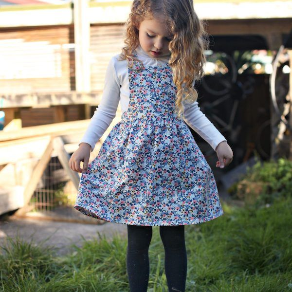 Rifle and Co floral fabric sewn in a Tui Pinafore PDF pattern