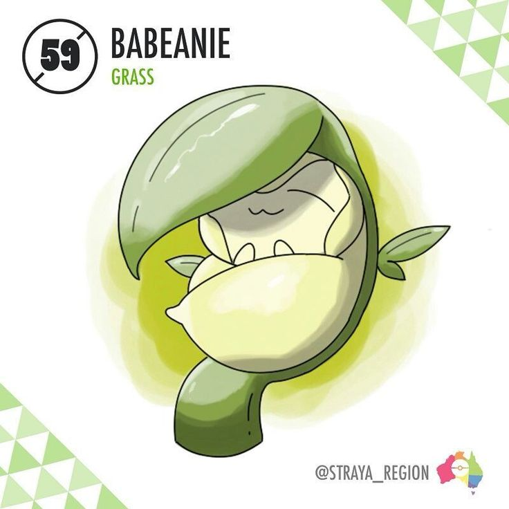059: Babeanie (baby + bean + beanie) The False Baby Pokémon Type: Grass Ability: Imitate/Leaf Guard (HA) Evolves from Germini starting at Lv. 25 with Pokémon from 'Fairy' egg group in party - When Germini is levelled up in close proximity to a fairy-like Pokémon, it will evolve into the False Baby Pokémon, Babeanie. Babeanie often disguises itself as a Baby Pokémon, but its true nature is much more menacing. When a Pokémon comes close to it, Babeanie will unwrap its leaf swaddle and bind…