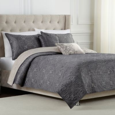 transform your bedroom into a beautiful tranquil escape with the medallion reversible quilt set this gorgeous quilt features an exquisitely stitched