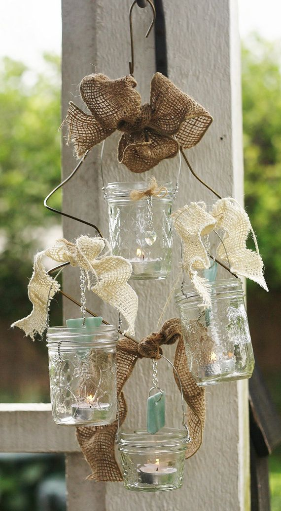 Mason Jar Candle Chandelier RusticCountry Wedding Theme