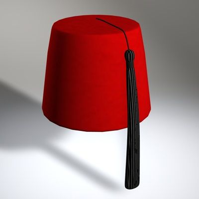 8pts...The fez , or tarboosh, is a felt hat either in the shape of a truncated cone or of a short cylinder, made of kilim fabric, red in colour, usually with a tassel attached to the top. The fez is largely believed to be of Greek origin and later spread to the Ottoman Empire where it was popularized. Aileen Kusumawardani FD1A2