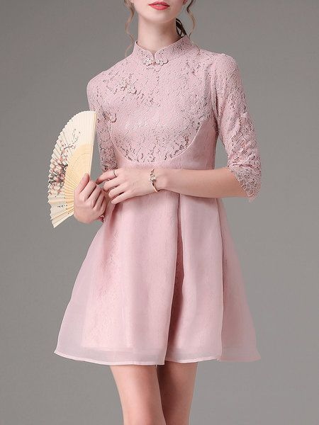 Shop Mini Dresses - Pink Vintage Stand Collar Paneled Mini Dress online. Discover unique designers fashion at StyleWe.com.