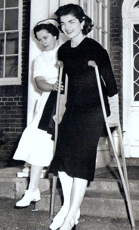 Jackie leaving the hospital after breaking her ankle.