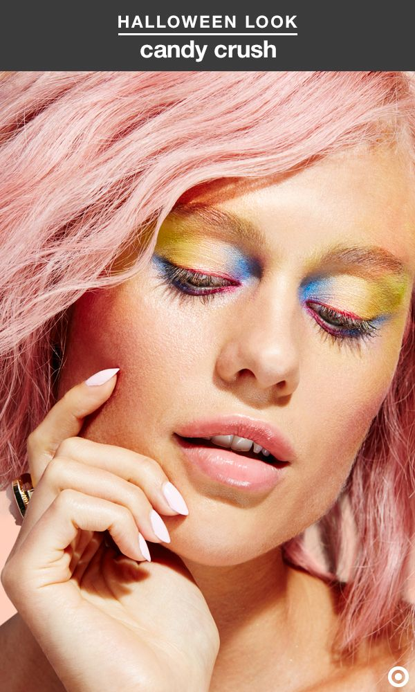 Colorful rainbow-inspired eyes instantly rule Halloween. To get the look, use the e.l.f. makeup collection palette. First, pat a yellow eye shadow all over the lids, concentrating the color in the middle of each eye. Next, apply a blue shadow to the inner creases and outer corners, and line your eye with a liner brush and pink shadow. Blend the colors together with a small shadow brush. E.l.f. faux lashes and a baby pink lip, like e.l.f. Matte Lip Color in Natural, complete the costume.