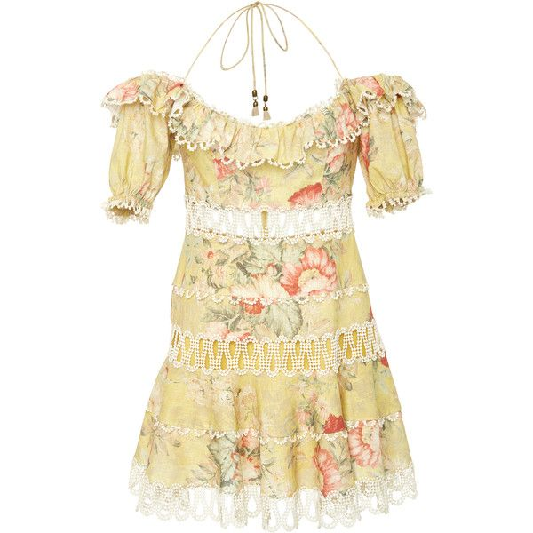 Zimmermann Melody Off The Shoulder Dress ($850) ❤ liked on Polyvore featuring dresses, floral, drop-waist dresses, mini dress, floral dresses, off shoulder mini dress and beige dress