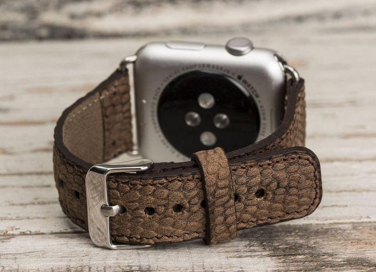 Brown Snakeskin Pattern Leather Apple Watch band, 42mm, 38mm, Leather watch band, Apple watch strap, iwatch band, Apple watch leather band by o2leather on Etsy