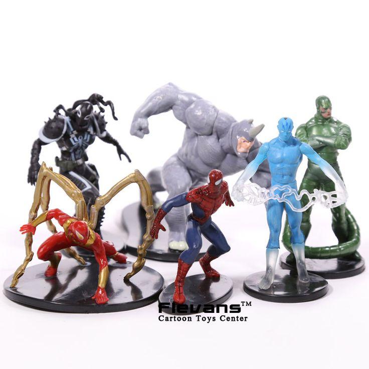 Spiderman Toys The Amazing Spiderman Rhino Venom PVC Action Figures Boys Toys Gifts 6pcs/set HRFG422