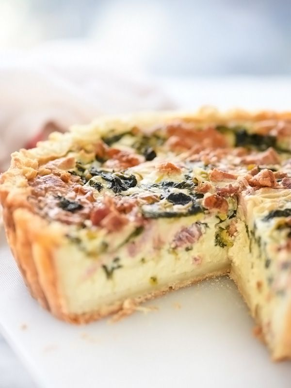 Spinach, Leek and Bacon Quiche made is with greek yogurt in a cream cheese crust | foodiecrush.com