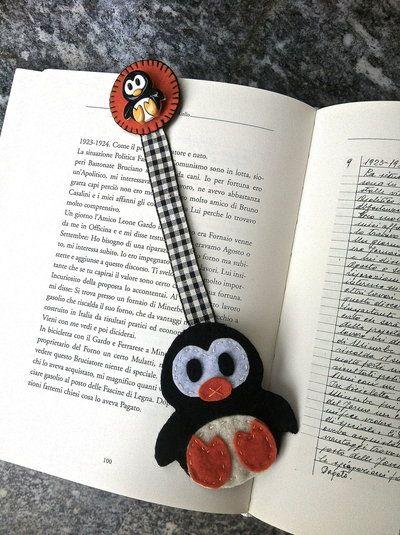 segnalibro in feltro con pinguino