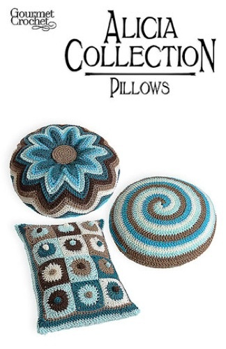 Alicia Collection Pillows Pattern GC28106 - Enjoy the fun and relaxation of crochet with a trio of spunky decorative pillows with a retro edge. Classic designs interpreted in today's colors create simple elegance and enjoyable crochet. Three pillows, all made with worsted-weight yarn.