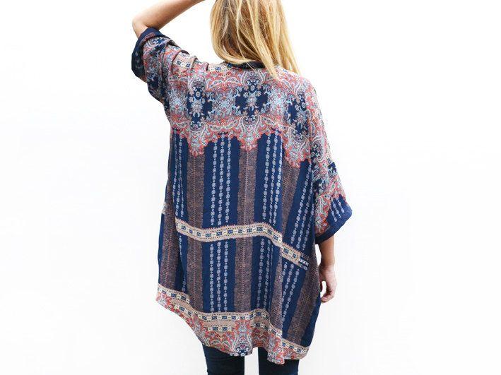 Bohemian Kimono Cardigan, Light Summer Jacket, Kimono Coverup, Blue Kimono, Unique Clothing, Summer Fashion by ALUMAhandmade on Etsy https://www.etsy.com/listing/227833444/bohemian-kimono-cardigan-light-summer