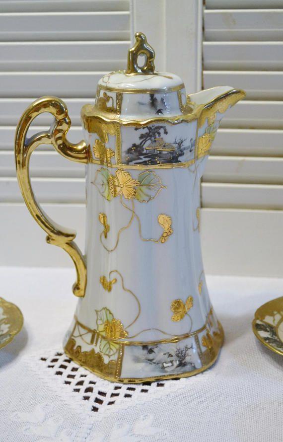 Vintage Nippon Chocolate Pot, Cups Saucers Gold Hand Painted Pagoda Scene Japan- Matching Set Japanese Chocolate pot set