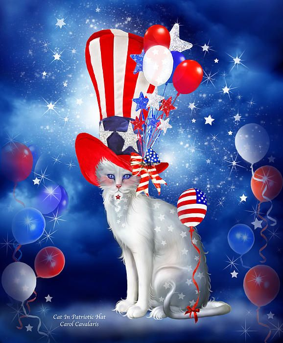 A delightful white cat wearing a very tall patriotic hat with balloons stars and stripes, too in red, white and blue.  Cat In Patriotic Hat prose by Carol Cavalaris ©  This artwork of a fanciful white cat wearing a fancy Patriotic hat is from the Cats In Fancy Hats collection of art by Carol Cavalaris.
