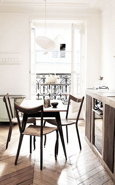 herringbone / chevron wood floors, Paris apartment