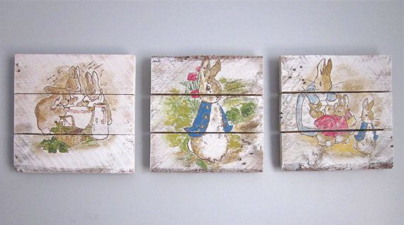 Peter Rabbit Nursery Set - Handpainted Wood Signs on Etsy, $135.00
