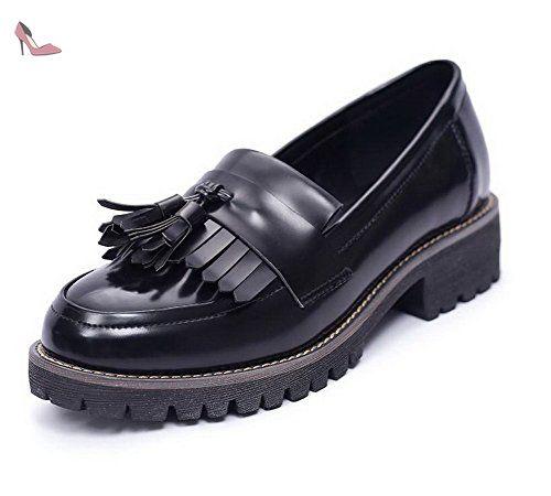 VogueZone009 Femme Rond Matière Mélangee Couleur Unie à Talon Bas Chaussures Légeres, Noir, 37 - Chaussures voguezone009 (*Partner-Link)