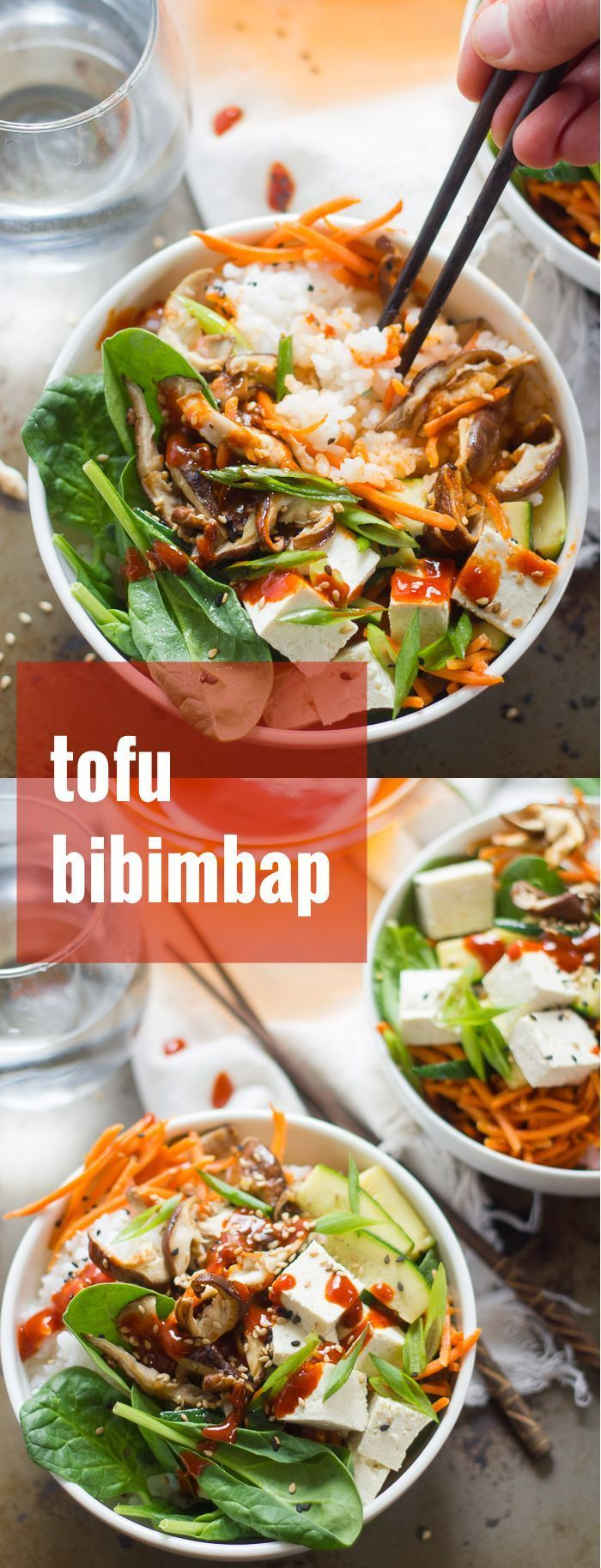 A vegan version of a Korean classic, these tofu bibimbap rice bowls are filled with veggies and dressed in spicy red pepper sauce.