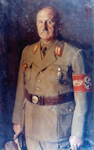 In this formal portrait, Julius Streicher wears the armband signifying the office of Gauleiter of Nuremberg-Furth and Franconia.
