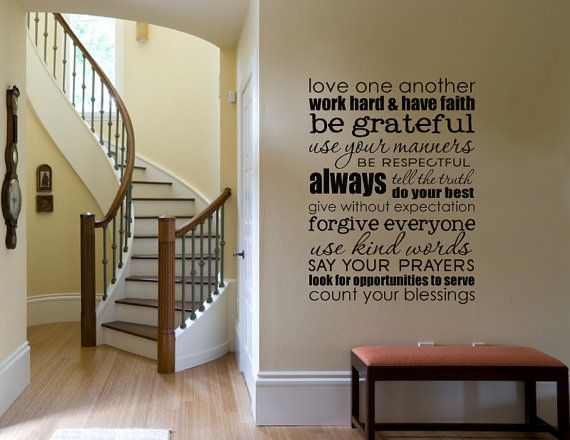 Wall Vinyl Lettering Decal Sticker - SUBWAY ART -Family rules  large size 23 x 30 inches - 1508B Room Decor Gift Cling
