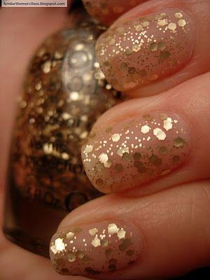 matte golden glitter nails