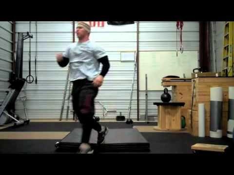 """The Strength Shop 62, plyometrics: some real plyometrics here.  -- Start out with 1-3 RM deep squats and 12-16 RM deep (knees to chest) ballistic leg presses. Start with stepping off a 6"""" box and instantaneously leaping onto a 12"""" box, then increase heights as you learn to instantaneously rebound so that your feet are not on the floor for longer than 15/100ths of a second.  Then increase the heights. Also start doing squat hops with very low weights (5-10 lb dumbbells) and work up."""