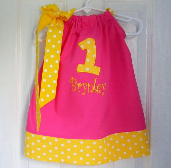 First Birthday Dress in Pink and Yellow by DesignsByThem on Etsy, $29.95