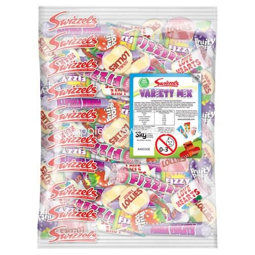hese are a large selection of children favourite sweets which are love hearts rolls,drumsticks,fizzers,double lollies,chews and many more.