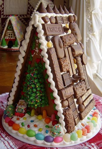 Gingerbread/Candy House! Great idea! Now the roof won't slide off...it's already touching!