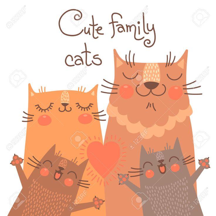 Симпатичные карта с семьей кошек. Векторная иллюстрация. Клипарты, векторы, и Набор Иллюстраций Без Оплаты Отчислений. Image 37256622.